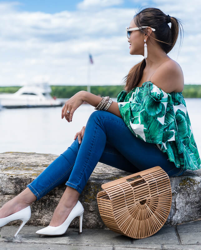 colors of mei, colorsofmei, fashion blogger, palm print, off shoulder, fashion blog, travel blog, door county, wisconsin