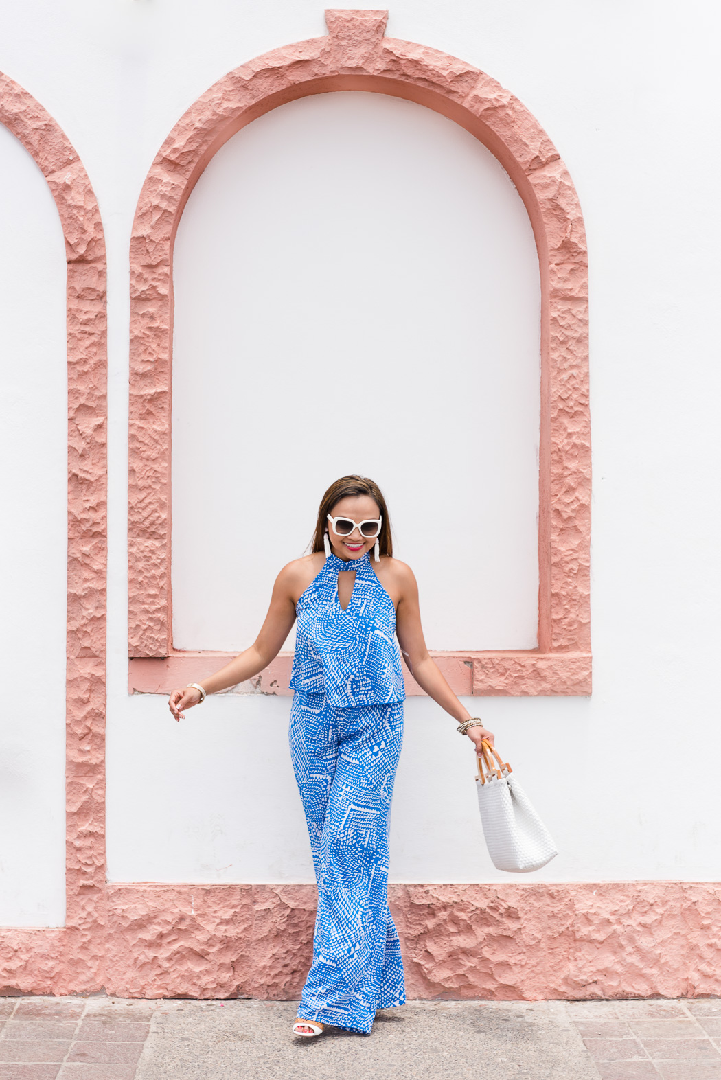 blue, jumpsuit, red dress boutique, kate spade sunglasses, jumper, mexico, puerto vallarta, malecon, mexico outfit idea, summer outfit idea, colorsofmei, fashion blog, outfit ideas, outfit blog, jumpsuit ideas